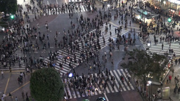 Pedestrians cross the Shibuya intersection in Toky Footage