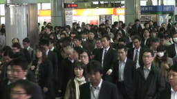 Rush hour at Shinagawa railway station in Tokyo, J Stock Video Footage