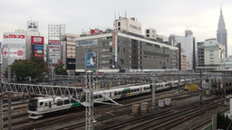 Shinjuku station, trains, transportation, Tokyo, J Stock Video Footage