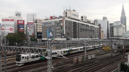 Shinjuku station, trains, transportation, Tokyo, J Stock Video Footage