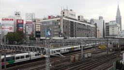Shinjuku station, trains, transportation, Tokyo, J Footage