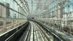 Tokyo monorail rides over Rainbow bridge, train pa Footage