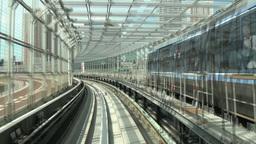 Tokyo monorail rides over Rainbow bridge, train pa Stock Video Footage