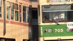Trams in Hiroshima, Japan Stock Video Footage