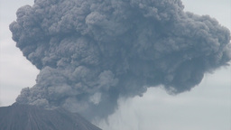 Massive eruption of the Sakurjima volcano in South Stock Video Footage