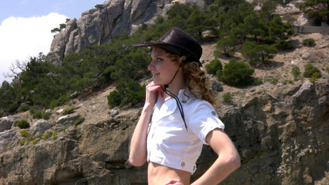 Girl in a western hat Stock Video Footage