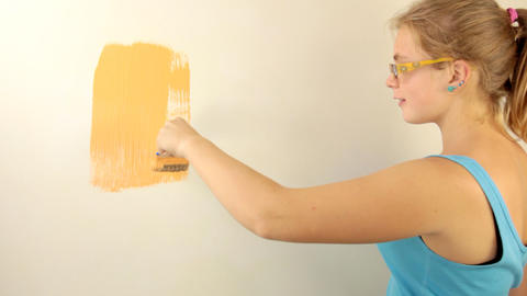Painter girl Stock Video Footage