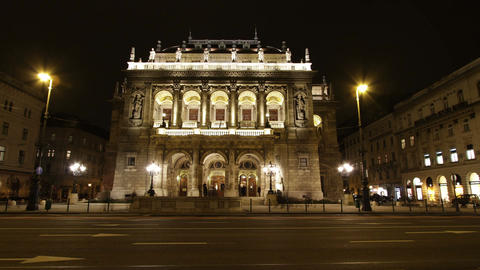 4 K Opera Budapest Hungary at Night 1 Stock Video Footage