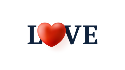 love text with heart animation. Simple love motion animation with 3d heart Live Action