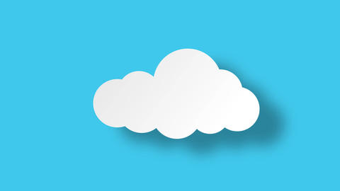 Cloud in flat style with shadow. Flat design. Paper cut style. Loop with alpha Animation