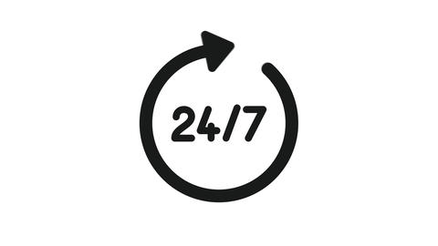 24 7 Service open 24h hours a day and 7 days a week. Flat video in black on a Animation