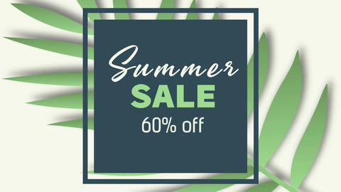 Tropical Summer sale animation. Simple Summer Sale typescipt with various jungle Animation
