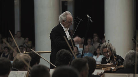 White-haired kapellmeister conducting string orchestra in classic music hall Live Action