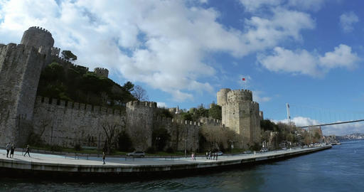 Ultra wide shot of Rumeli Hisar castle in Istanbul Live Action
