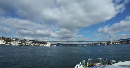 Ultra wide view from the ferry on Bosphorus Bridge Live Action