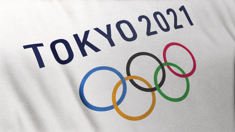 Full Frame Looped White Olympic Flag for Tokyo 2021 Summer Sports Games with Colorful Rings Animation