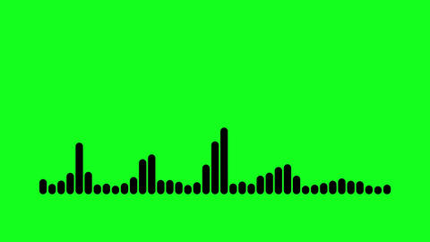 Green Screen Black Audio Lines motion graphics Equalizer. Chroma Key audio wave frequency spectrum Animation