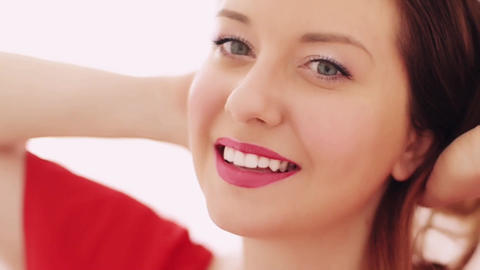 Beauty face portrait of young woman smiling, perfect white teeth smile, glamour Live Action
