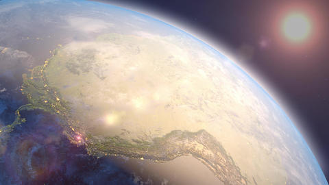 Earth and sun. Sunrise and sunset. A view from space. South America and the Quiet ocean Animation