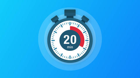 The 20 minutes, stopwatch icon. Stopwatch icon in flat style, timer on on color Animation
