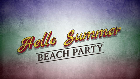 Animated text Hello Summer on grunge summer background Animation
