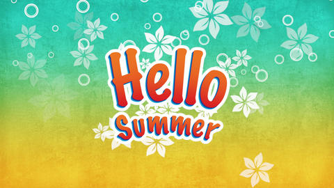 Animated text Hello Summer with fly flowers, summer background Animation