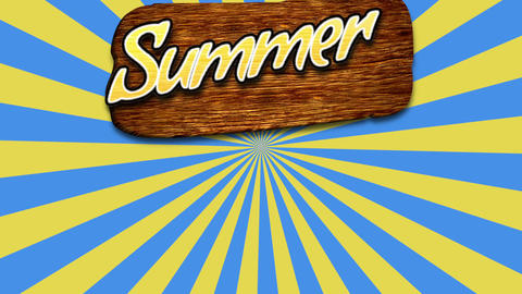 Animated text Hello Summer with sun rays and wood for text, yellow summer background Animation
