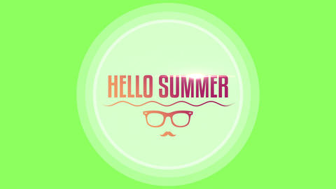 Animated text Hello Summer with sun glasses and sea waves, green summer background Animation