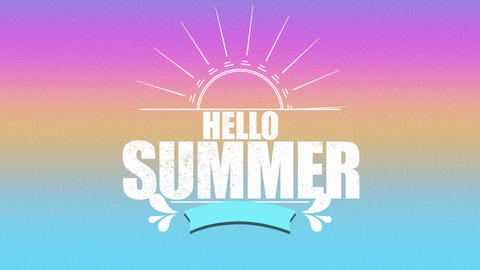 Animated text Hello Summer with sun rays and flowers, pink summer background Animation