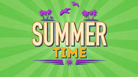 Animated text Summer Time with sun rays, birds and palms, green summer background Animation