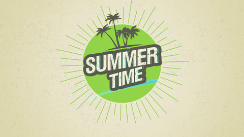 Animated text Summer Time with palms and sun rays, green summer background Animation