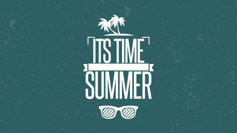 Animated text Summer Time with sun glasses and palms, blue summer background Animation
