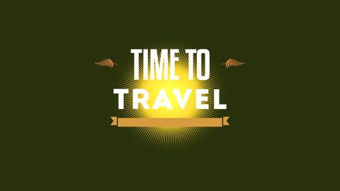 Animated text Time to Travel with yellow sun and rays, gradient summer background Animation