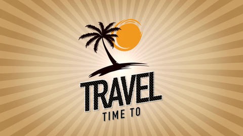 Animated text Time to Travel with sun rays and palms, gold summer background Animation