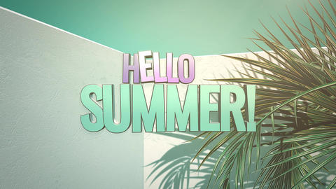 Animated text Hello Summer and closeup tropical tree in room, summer background Animation