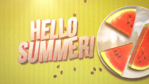 Animated text Hello Summer and closeup watermelon on yellow summer background Animation