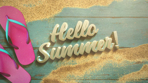 Animated text Hello Summer and closeup sandy beach with sandal on wood, summer background Animation