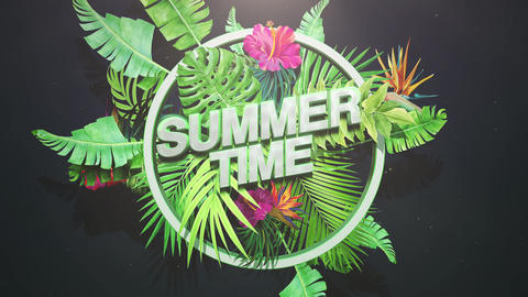 Animated text Summer Time and closeup tropical flowers and leaf, summer background Animation