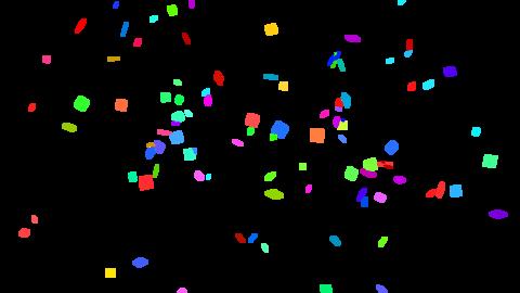 Colorful confetti cannon 3 pattern set (transparent background) Animation