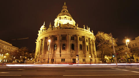 Basilica Budapest Hungary at Night 1 Stock Video Footage