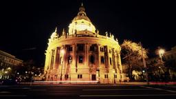 Basilica Budapest Hungary at Night 3 Stock Video Footage