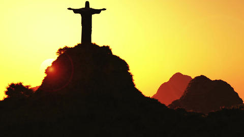 Corcovado Sunset 1 Stock Video Footage