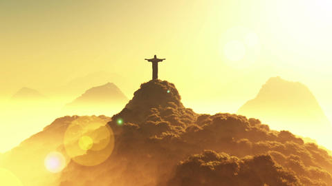 Corcovado Sunset 3 Stock Video Footage