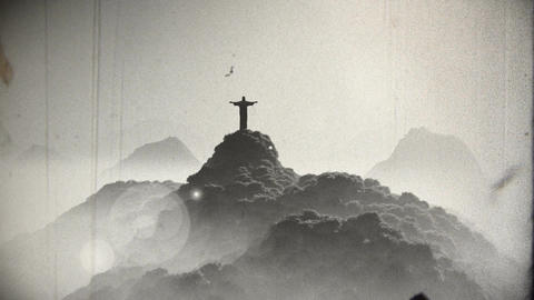Corcovado Sunset 5 vintage Stock Video Footage
