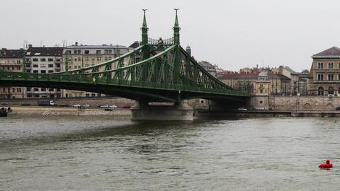 Corvinus University River Danube Winter Budapest Hungary... Stock Video Footage