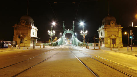 Liberty Bridge at Night Budapest Hungary Timelapse 2 Stock Video Footage