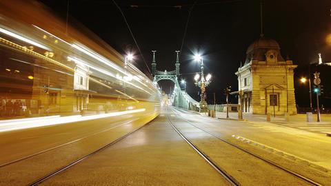 Liberty Bridge at Night Budapest Hungary Timelapse 2 Footage