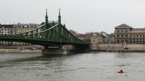 Liberty Bridge River Danube Winter Budapest Hungary Timelapse 3 Footage