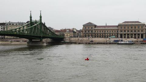 Liberty Bridge River Danube Winter Budapest Hungary... Stock Video Footage