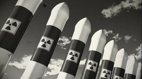 Nuclear Rockets 18 vintage Stock Video Footage